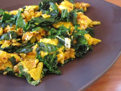 scrambled eggs and kale